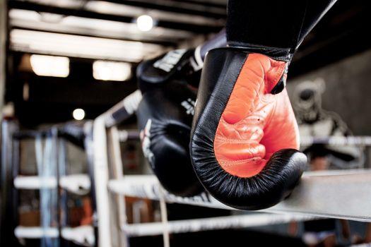 Boxing gloves hanging on ring in stadium.