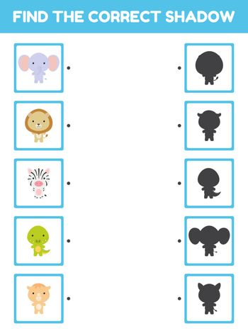 Game template find correct shadow. Matching game for children with african cartoon animals. Kids activity page for book. Education developing worksheet. Logical thinking training. Vector illustration.