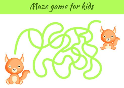 Funny maze or labyrinth game for kids. Help mother find path to baby. Education developing worksheet. Activity page. Cartoon squirrel characters. Riddle for preschool. Color vector stock illustration.