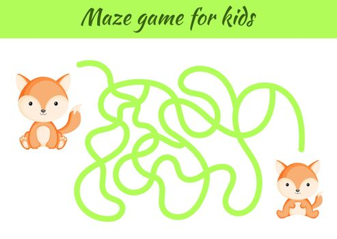 Funny maze or labyrinth game for kids. Help mother find path to baby. Education developing worksheet. Activity page. Cartoon fox characters. Riddle for preschool. Color vector stock illustration.