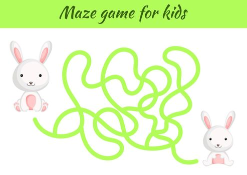 Funny maze or labyrinth game for kids. Help mother find path to baby. Education developing worksheet. Activity page. Cartoon hare characters. Riddle for preschool. Color vector stock illustration.