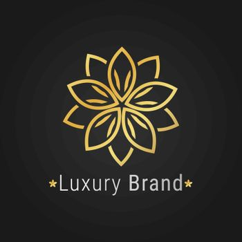 Flower logo luxury golden elegant branding on black background for restaurant, spa, hotel business