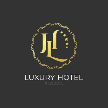 Logo luxury golden elegant hotel branding isolated on black background for business