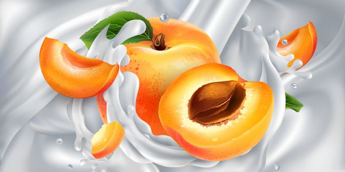Apricots in a stream of milk or yogurt.