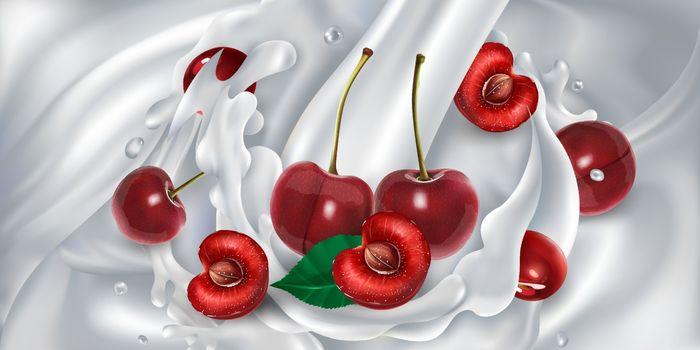 Cherries in a stream of milk or yogurt.