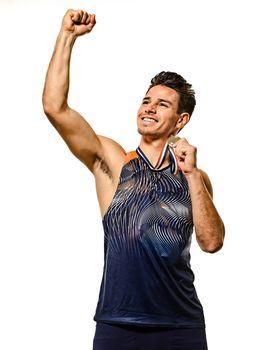 young man athletics athetle gold medalist isolated white background