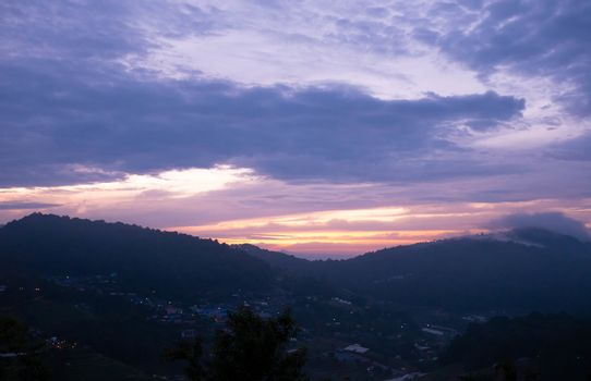 landscape of mountain with fantastic sky in the early morning.
