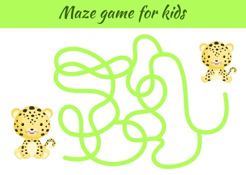Funny maze or labyrinth game for kids. Help mother find path to baby. Education developing worksheet. Activity page. Cartoon jaguar characters. Riddle for preschool. Color vector stock illustration.