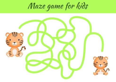Funny maze or labyrinth game for kids. Help mother find path to baby. Education developing worksheet. Activity page. Cartoon tiger characters. Riddle for preschool. Color vector stock illustration.