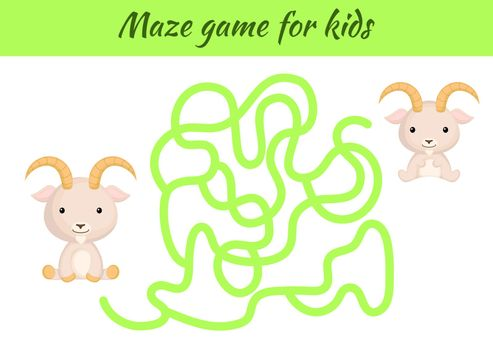 Funny maze or labyrinth game for kids. Help father find path to baby. Education developing worksheet. Activity page. Cartoon goat characters. Riddle for preschool. Color vector stock illustration.