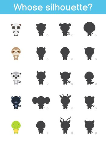 Whose silhouette game template. Matching game for children with cute cartoon animals. Kids activity page. Education developing worksheet. Logical thinking training. Vector stock illustration.