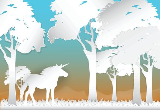 Unicorn in the forest and hill on sunrise or sunset time nature background, paper art style illustration
