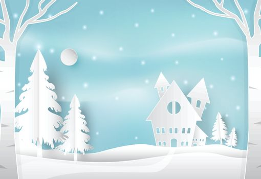 Winter holiday and snow in countryside with blue sky nature background. Christmas season paper art style illustration.