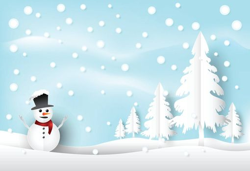 Winter holiday snow and snowman with blue sky background. Christmas season paper art style illustration.
