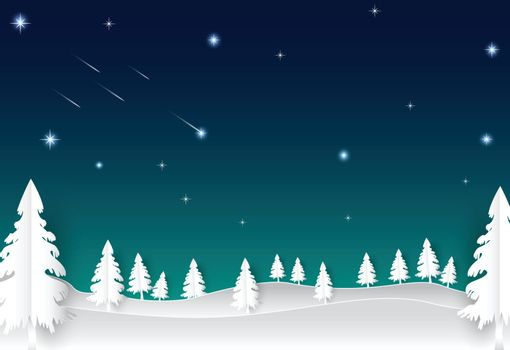 Night sky with star and comet, landscape nature background, paper art style illustration