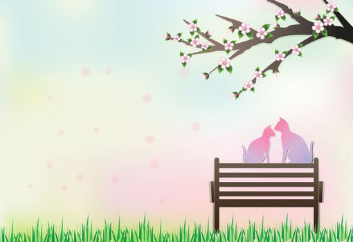 Cats sitting on the bench under Cherry blossom tree and petals floating, nature background, paper art style