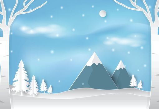 Winter and snow in forest with blue sky landscape nature background. Christmas season paper art style illustration.