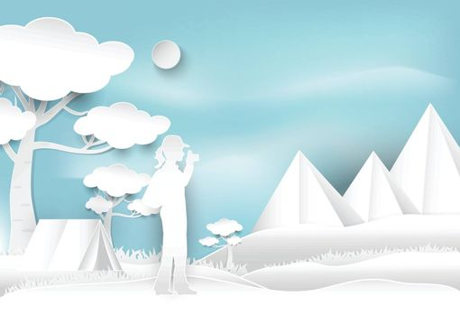 Woman take a photo and camping on hill in the forest, landscape background, paper art style illustration