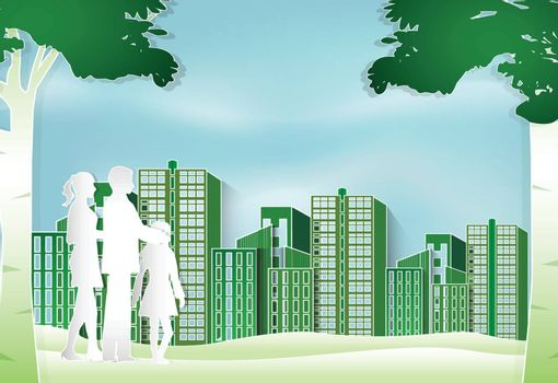 Family standing in the park and green building urban lifestyle,  paper art style illustration.