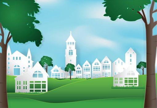 Spring season with blue sky peaceful and relaxing in city town background, paper art style illustration.