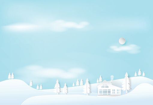 Winter on the hill with blue sky landscape nature background. Christmas season paper art style illustration.