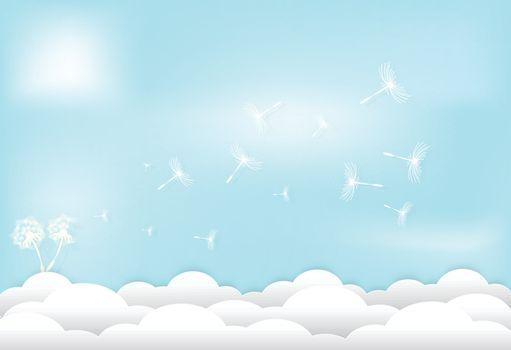 Dandelion floral floating on cloud and blue sky background, paper art style illustration