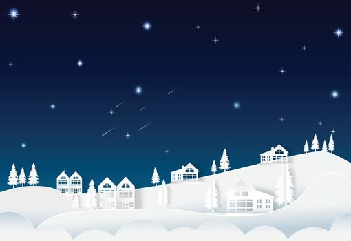 House on the hill night sky with star and comet, landscape nature background, paper art style illustration