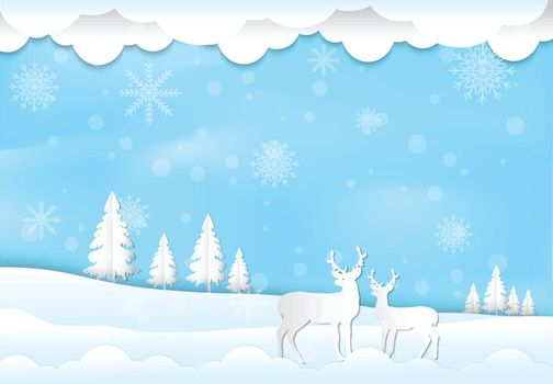 Winter holiday deer with snow and snowflake with blue sky background. Christmas season paper art style illustration.