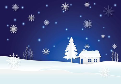 Cottage with snow and snowflake in winter on blue background. Christmas season paper art style illustration.