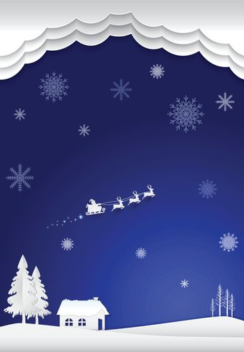 Cottage with santa and snowflake in winter on blue background. Christmas season paper art style illustration.