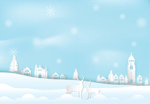 Winter holiday and snow flake in city town with deer background. Christmas season paper art style illustration.