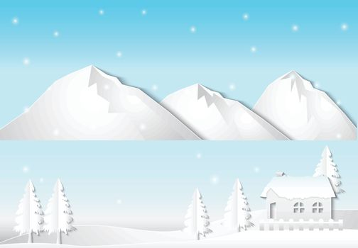 Winter and snow with Cottage near the lake, Christmas season background paper art style illustration.