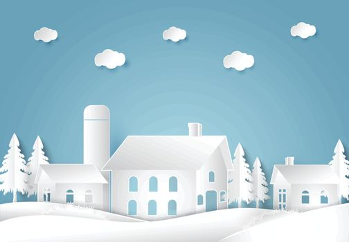 House and barn agriculture countryside background. paper cut, paper art style illustration