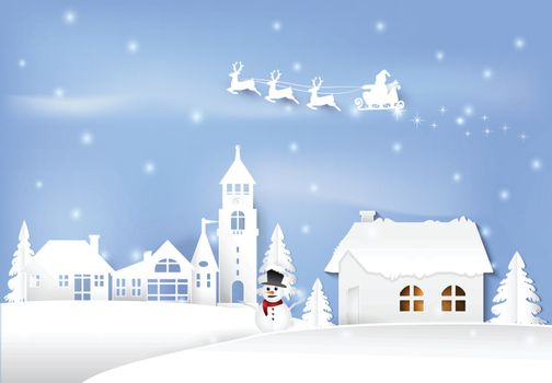 Winter holiday santa and snowman in city town blue sky background. Christmas season paper art style illustration.
