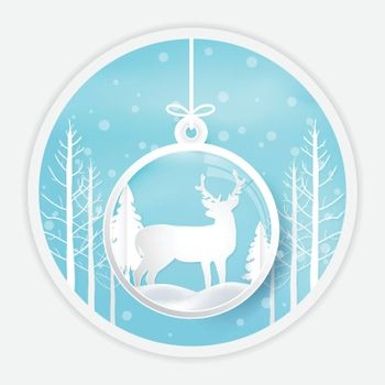 Deer standing in ball decoration on snow background. Paper art, origami style nature illustration.