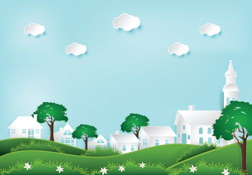 Paper art style illustration of Happiness and peaceful lifestyle in the village background