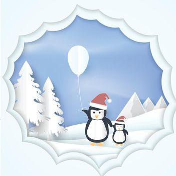 Paper art illustration of Penguin with Balloon Christmas season Paper cut style