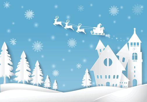 Winter holiday Santa and snow Christmas season paper art, paper cut style illustration.