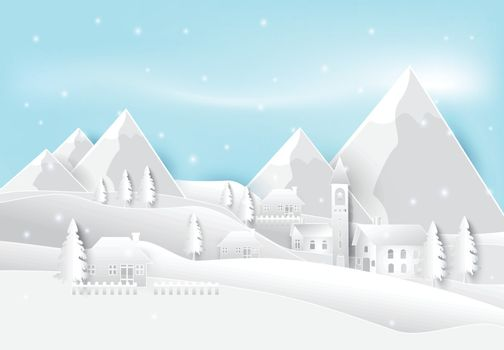 Winter season in countryside paper art background. Christmas holiday paper art illustration