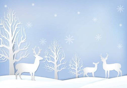 Paper art illustration of Deer and dry tree with snowflake, Christmas season background paper cut style