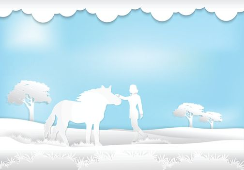 Paper art style illustration of Girl and Horse in the meadow background