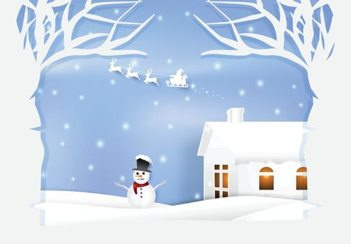 Paper art illustration of Winter holiday Santa and snowman. Christmas season background paper cut style