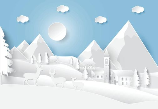 Happiness lifestyle peaceful in countryside village background, paper art style illustration
