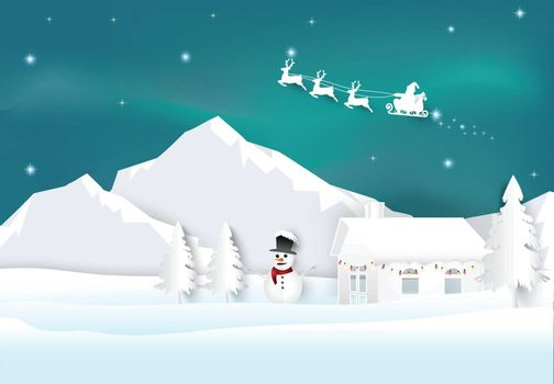 Santa with aurora on sky background. Christmas season paper art style illustration.