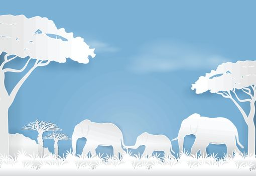 Elephants family in meadow, Paper art style nature landscape background  paper cut illustration