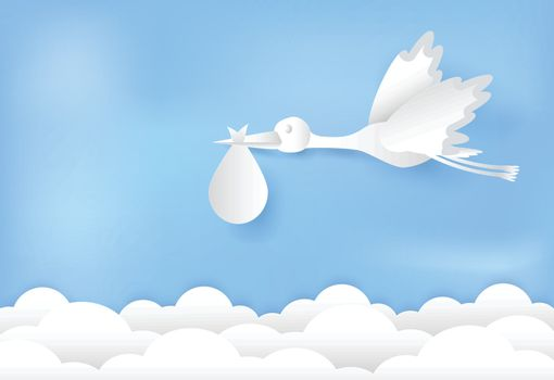 Paper art of stork flying with baby on blue sky paper cut style illustration