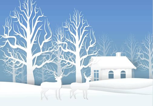 Paper art of Deer and dry tree with cottage, Christmas season background paper cut style