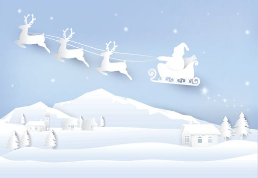 Christmas season Santa and deer paper art background. Winter holiday paper cut style illustration