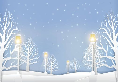 Winter landscape with lamp post and snow paper art style.  Christmas season background paper cut illustration