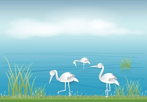 Paper art of stork looking for food in the pond paper cut style illustration